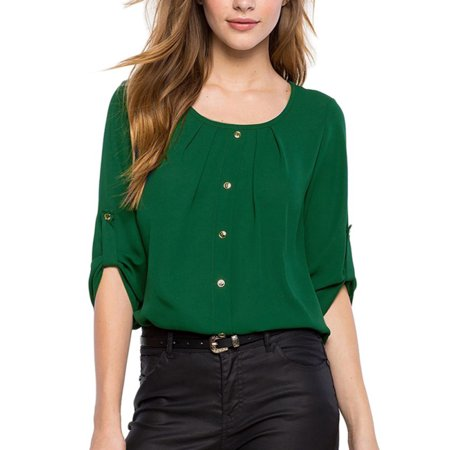 OUMY Women 3/4 Sleeve Chiffon Blouse Shirt Tops - Green Gardens Wrap Top