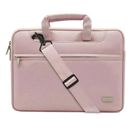 Polyester Laptop Shoulder Bag Briefcase Sleeve Case Cover Handbag for 13-13.3 Inch MacBook Notebook with Back Belt for Trolly