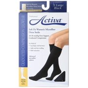 Activa Soft Fit Womens Micro Dress Socks 20-30mmHg Blk XLarge, 1 pr each