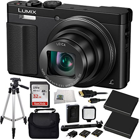 Panasonic DMC-ZS50K LUMIX 30X Travel Zoom Camera with Eye Viewfinder (Black) + SanDisk Ultra 32GB Class 10 SDHC Memory Card (SDSDUN-032G-G46) + Deluxe Carrying Case + 2 Extended Life Replacement