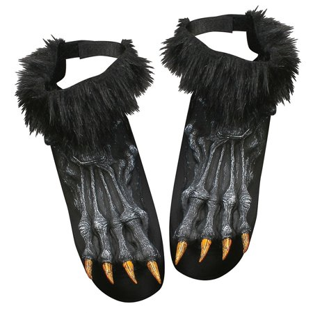 Werewolf Shoe Covers Adult Costume Accessory Black (Shoes For Costumes)
