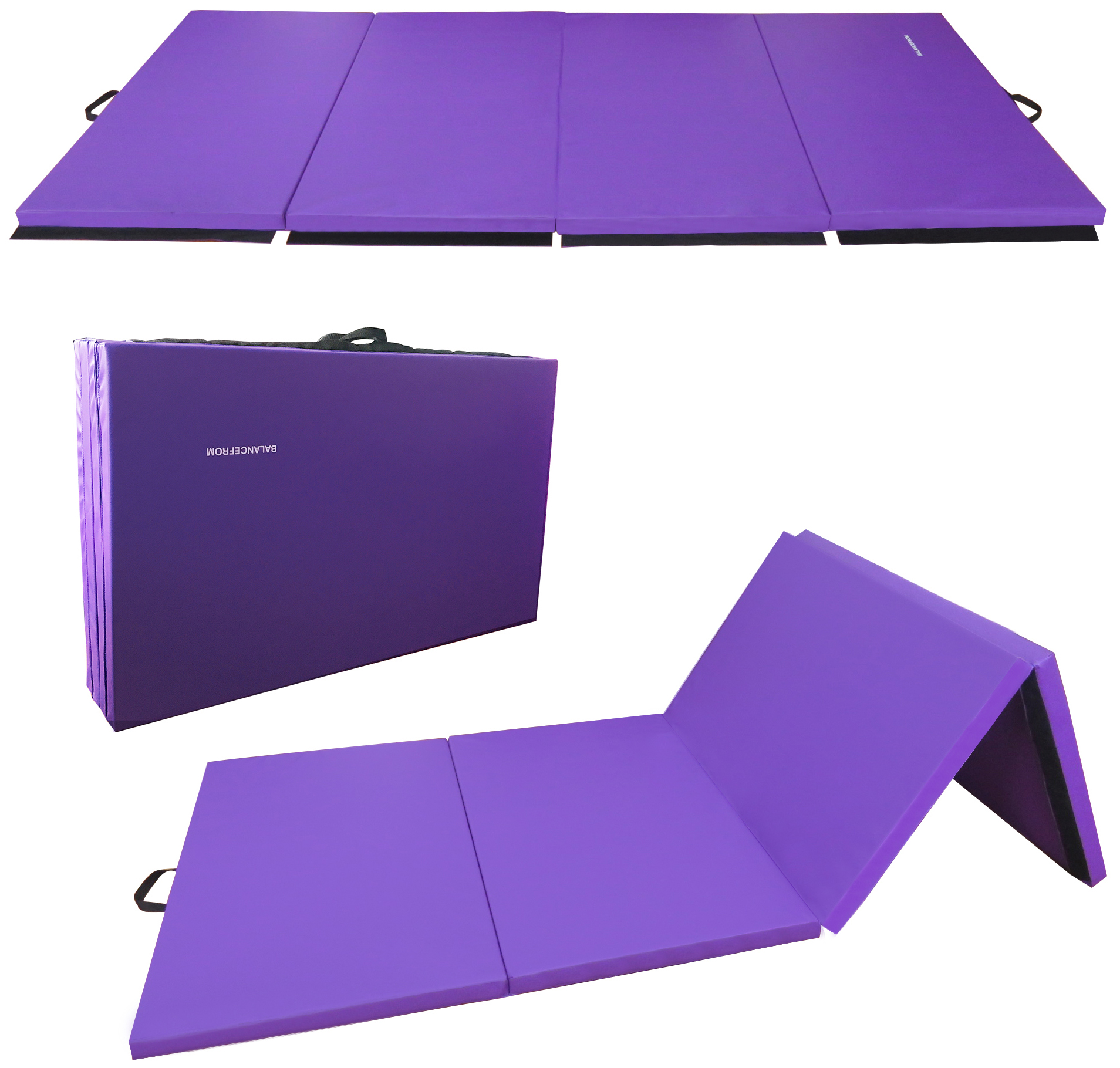 "BalanceFrom GoGym All-Purpose 4'x10'x2"" Extra Thick High Density Anti-Tear Gymnastics Gym Folding Exercise Aerobics Mats"