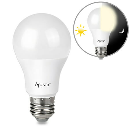 Acuvar 9W E26 LED Dusk to Dawn Light Bulb with Auto On and Off Function for Home, Camping, Outside Lighting