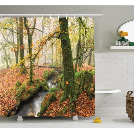 Woodland Decor Shower Curtain Set Misty Autumn And Stream At Golitha Falls On Bodmin Moor In Cornwall Bathroom Accessories 69w X 70l