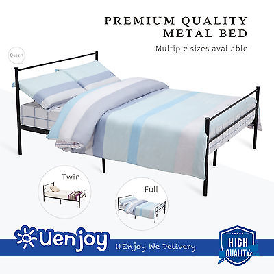 DFM Twin Size Metal Bed Frame Platform Headboards with 6 Legs ,Black