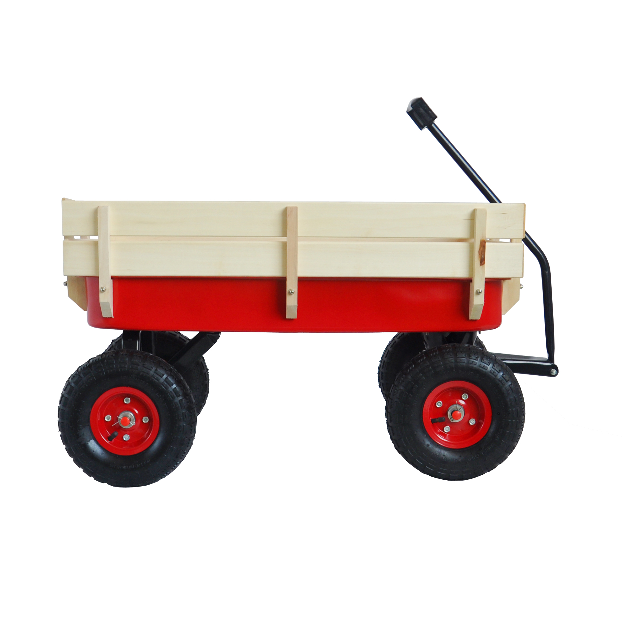 Beach Carts With Big Wheels Toy Wagons For Kids To Pull All Terrain Utility Wagon W Removable Wooden Panels 10 Rubber Wheels Heavy Duty Beach Cart For Outdoor Camping Children Wagon W1899