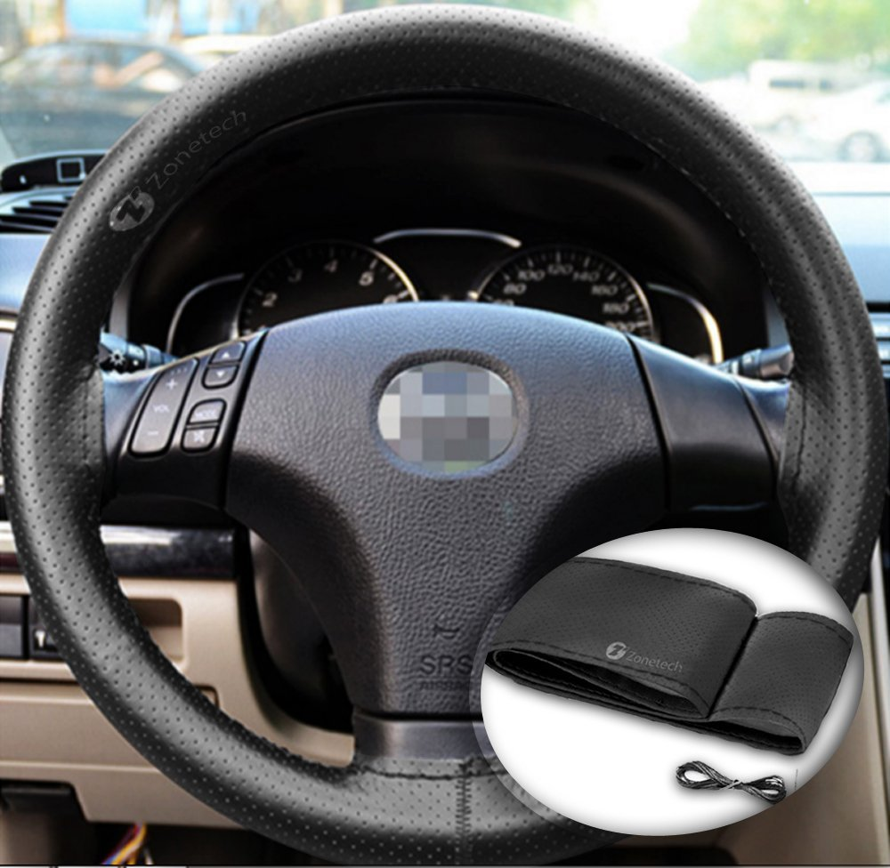 Zone Tech DIY Anti Slip Leather Car Steering Wheel Cover (Gray) - Universal Leather Car Steering Wheel Stitch on Wrap Cover, with Thread and Needle