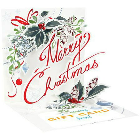 Up With Paper Merry Christmas Pop-Up Christmas Gift Card Holder
