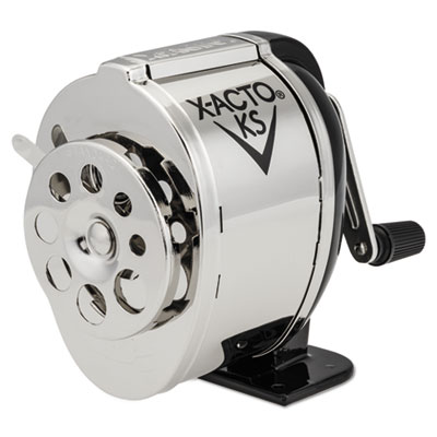 KS Manual Classroom Pencil Sharpener, Counter/Wall-Mount, Black/Nickel-plated, Sold as 1 Each