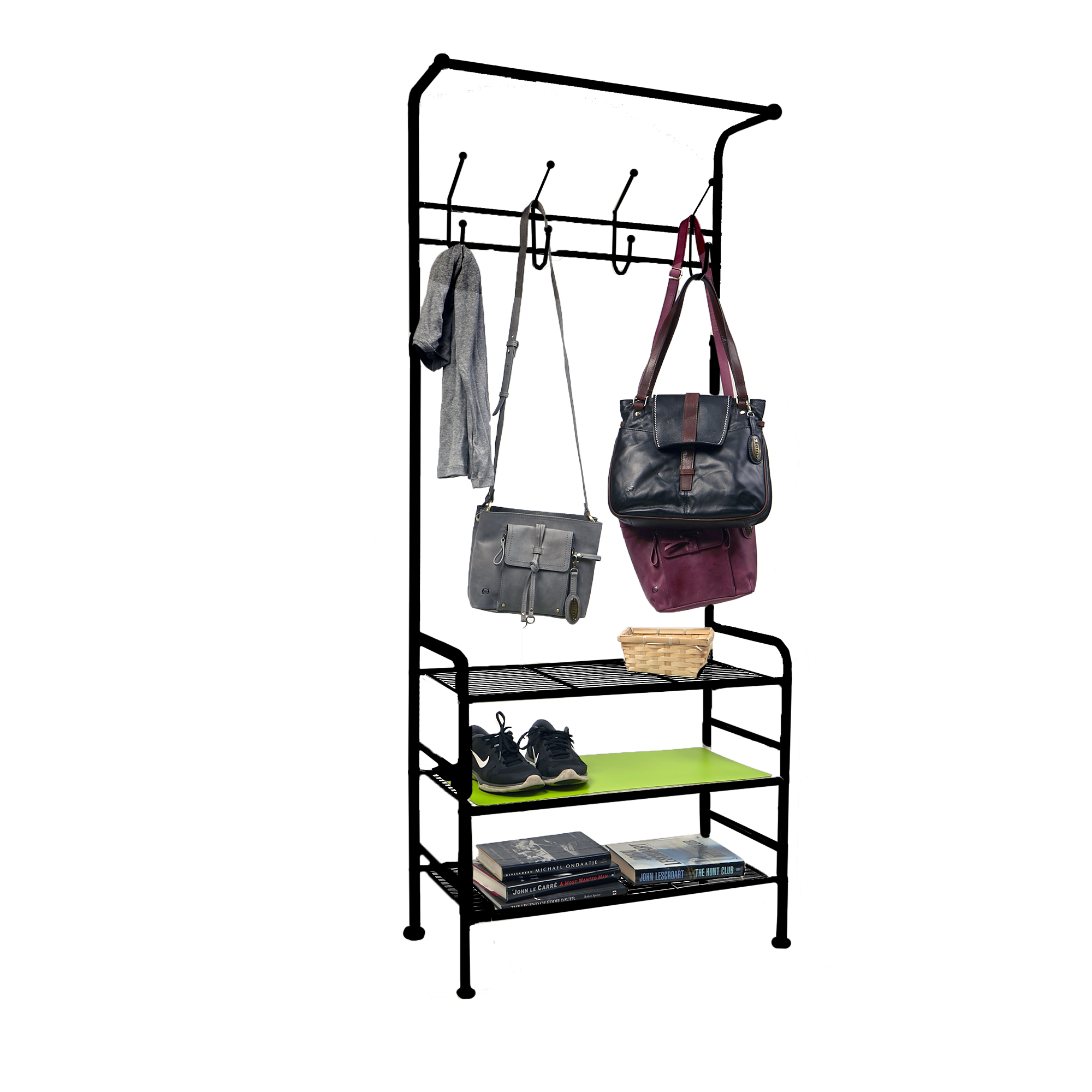 Mind Reader Metal Coat Shoe Rack Purses Scarf Shelving