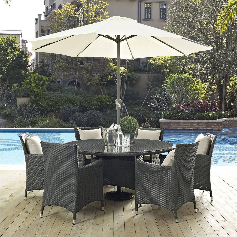Modway Sojourn 8 Piece Outdoor Patio Sunbrella Dining Set, Multiple Colors