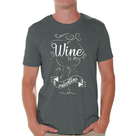 Awkward Styles Wine Is My Valentine Shirt Valentine Tshirt for Men Funny Valentines Day T Shirt Valentine's Day Gift Idea for Him Wine Lover Shirt Valentine Tshirt for Men Wine Party Outfit