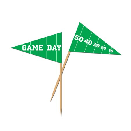 Club Pack of 600 Green and White Game Day Football Food, Drink or Decoration Party Picks 2.5