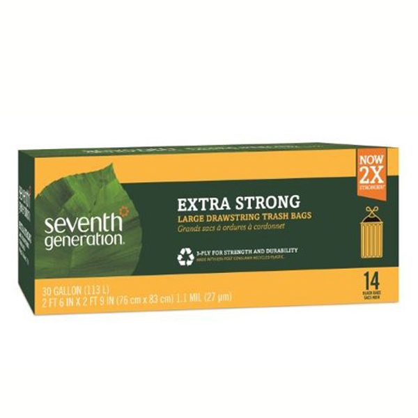 Seventh Generation Extra Strong Large Drawstring Trash Bags 30 Gallon - Pack of 12