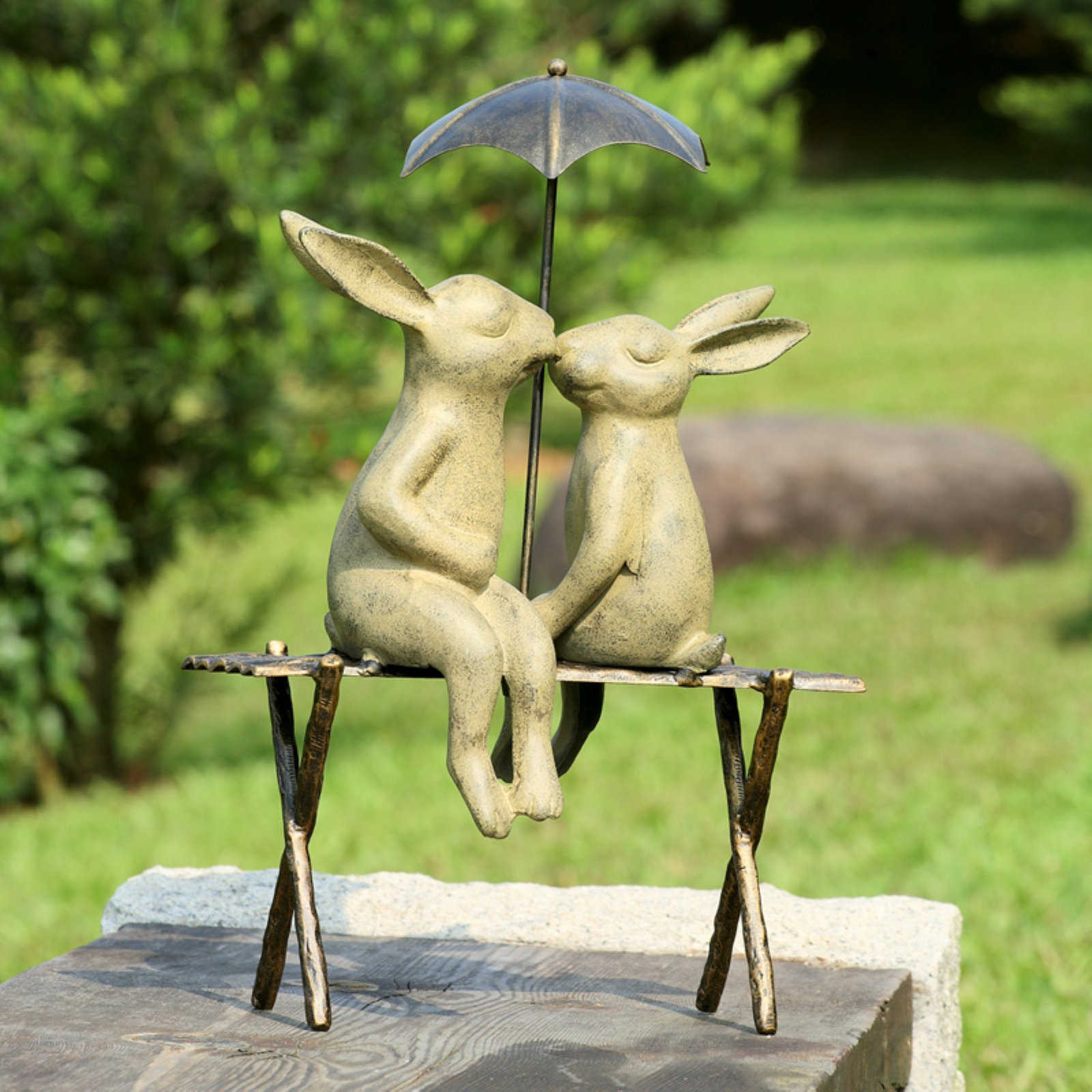 SPI Home San Pacific International Bunny Lovers on Bench Garden Statue