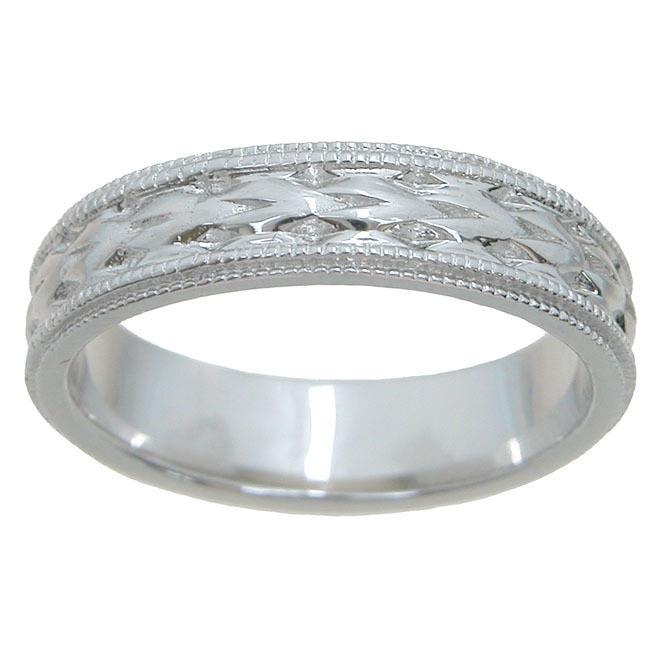 Plutus kkRU6877G Sterling Silver Unisex High Polish 5 mm Textured Beveled Wedding Band - image 1 of 1