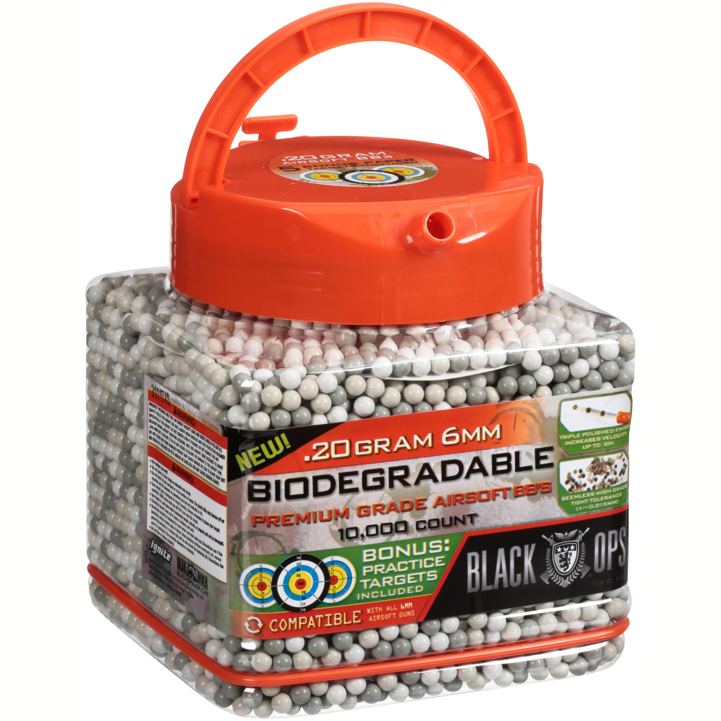 Black Ops Biodegradable Premium Grade Airsoft BB's 10,000 ct Pail