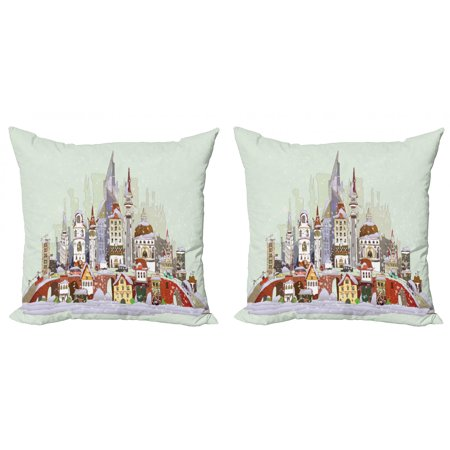 Christmas Throw Pillow Cushion Cover Pack of 2, Noel in the City Xmas Background Yule Holiday Traditional Winter Scenery, Zippered Double-Side Digital Print, 4 Sizes, Pale Green Lavender, by Ambesonne ()