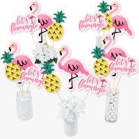 Pink Flamingo - Party Like a Pineapple - Tropical Summer Party Centerpiece Sticks - Table Toppers - Set of 15