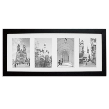 Golden State Art, 8x20 Black Photo Wood Collage Frame with White Mat ...