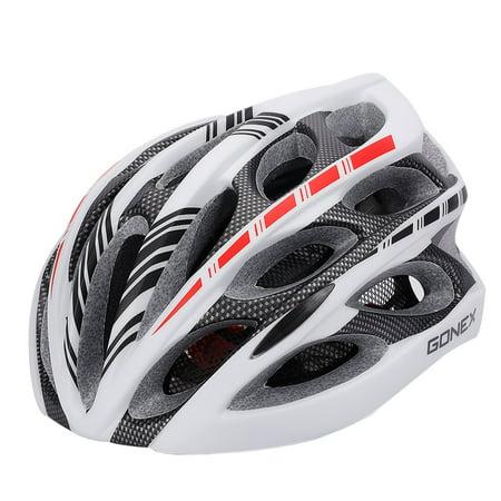 Adult Bike Helmet, Gonex Cycling Road Helmet with Safety Light, Adjustable 58-62cm, 24 Integrated Flow Vents White