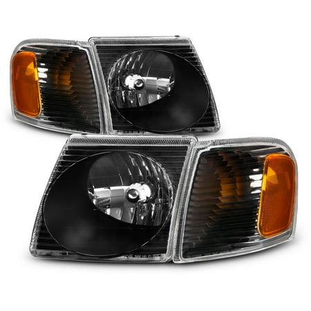 For 01-05 Ford Explorer Sport Trac Black Bezel Headlight + Corner Signal Lamp