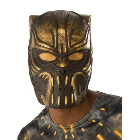 Marvel Black Panther Movie Erik Killmonger Adult 1/2 Mask Halloween Costume Accessory (Half And Half Halloween Makeup)