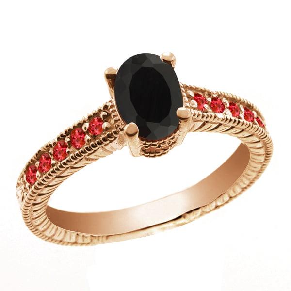 1.08 Ct Oval Black Onyx Red Garnet 14K Rose Gold Ring