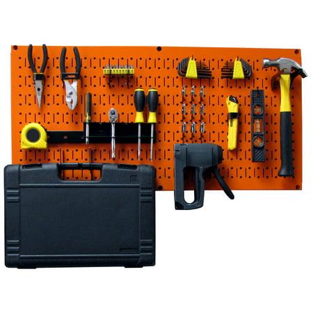 Wall Control Modular Pegboard Tool Organizer System - Wall-Mounted Metal Peg Board Tool Storage Unit for Pegboard Tiling (Orange Pegboard) Storage Unit Pegboard