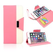 """Luxury PU Leather Flip Credit Card Holder Stand Dual Color Wallet Pouch Case Cover Skin for Apple iPhone 6 Plus 5.5"""""""