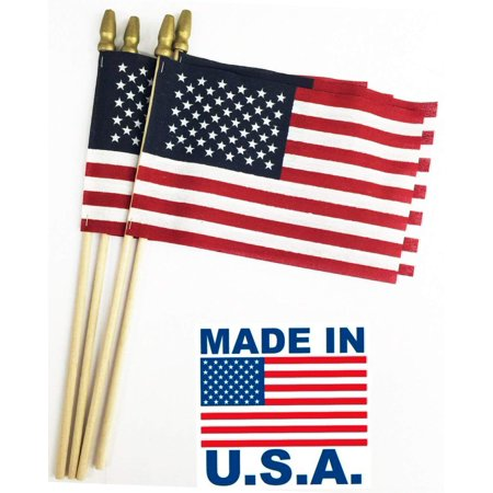 Image of GiftExpress Set of 12, Proudly Made in U.S.A. Small American Flags 4x6 Inch/Small US Flag/Mini American Stick Flag/American Hand Held Stick Flags Spear Top