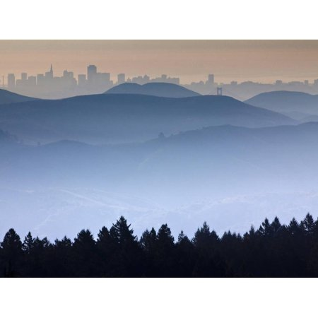 He View from the Summit of Mt. Tamalpais Looking Back Towards the City of San Francisco, Ca Print Wall Art By Ian Shive - City Of San Marcos Ca