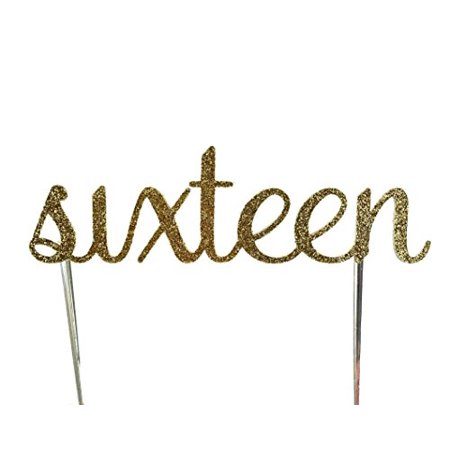 Handmade 16th Sixteenth Sweet 16 Birthday Cake Topper Decoration- sixteen - Made in USA with Double Sided Gold Glitter Stock - 16 Sweet