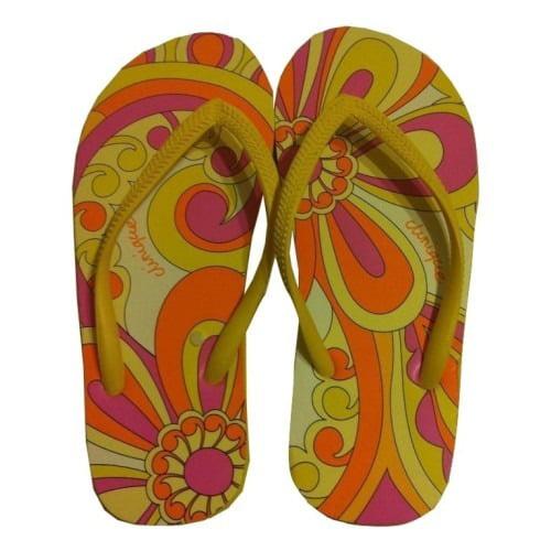 Clinique Summer Yellow and Orange Paisley Print Flip Flops Size S Small - Walmart.com