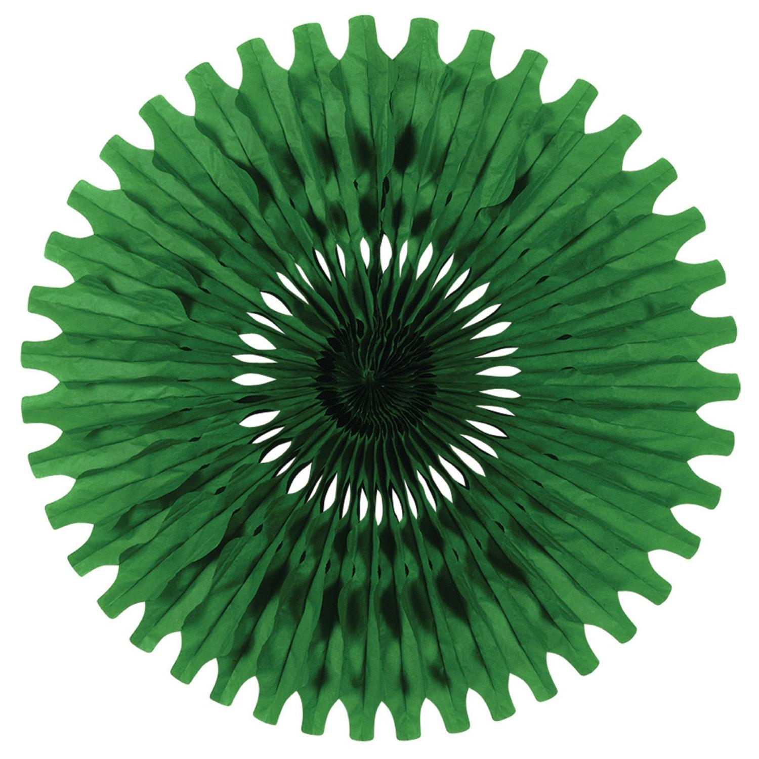 """Club Pack of 12 Green Tissue Fan Hanging Decorations 25"""""""