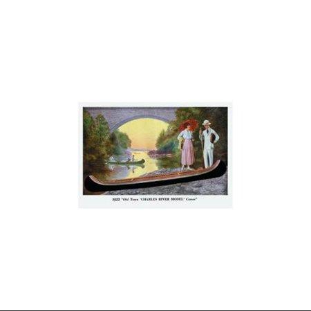Charles River Model' Canoe Print (Black Framed Poster Print 20x30)