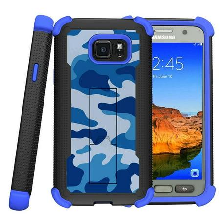 Samsung Galaxy S7 Active Case | S7 Active Blue Silicone Case [ShockWave Armor] High Impact Kickstand Case - Blue (Samsung Galaxy Note 8 Specs And Price)