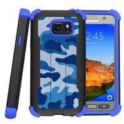 Samsung Galaxy S7 Active Case | S7 Active Blue Silicone Case [ShockWave Armor] High Impact Kickstand Case - Blue Camouflage