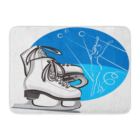 LADDKE Ice Figure Skates Skater Boots Activity Blade Dance Doormat Floor Rug Bath Mat 23.6x15.7