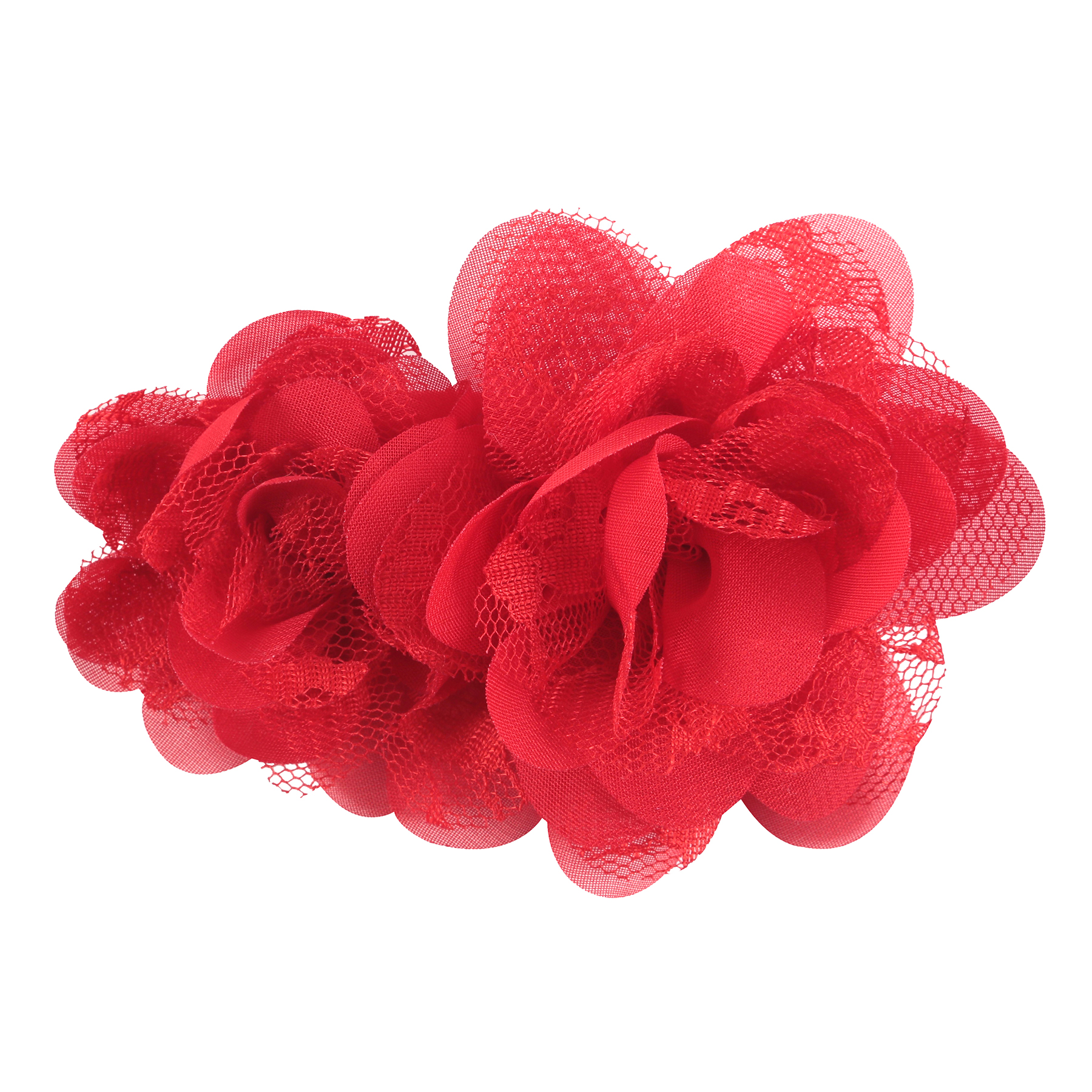 OFFRAY ACCESSORY RED CHIFFON LACE FLOWERS 2 PIECES