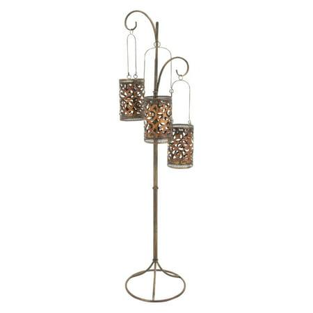 Decmode Metal Floor Candle Lantern, Bronze