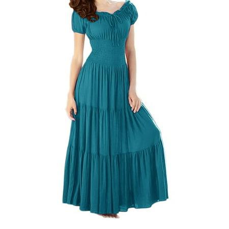 Cheap Renaissance Dresses (Peach Couture Gypsy Boho Cap Sleeves Smocked Waist Tiered Renaissance Maxi)
