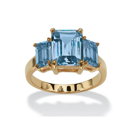 Emerald-Cut Birthstone 3-Stone Ring 18k Gold-Plated - March- Simulated Aquamarine - Emerald Cut Aquamarine Ring