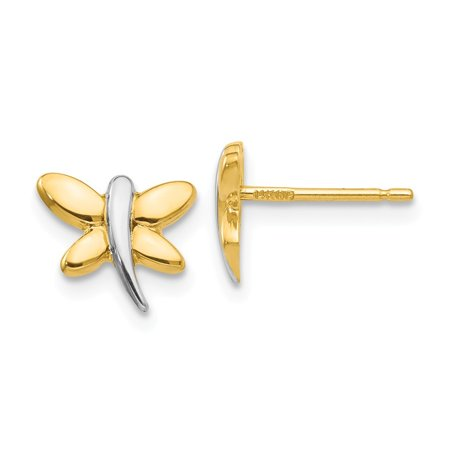 14k Yellow Gold With Rhodium Polished Dragonfly Post Earrings