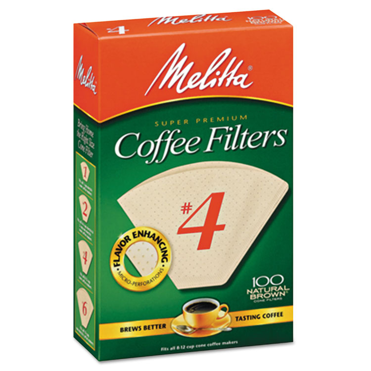 Melitta USA 624602 No.  4 Cone Natural Brown Paper Coffee Filter