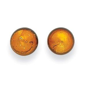 Murano Designer Earrings (925 Sterling Silver Gold Color Murano Glass Post Stud Ball Button Earrings For Women Gift)