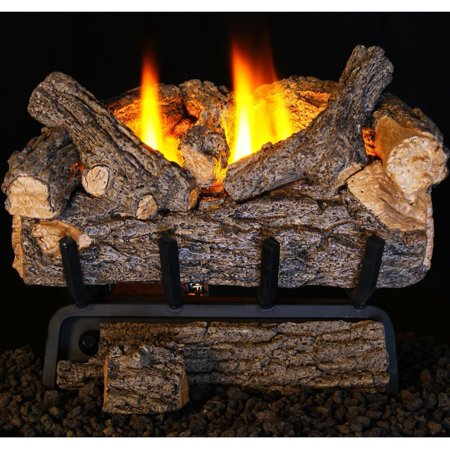 Peterson Real Fyre 24-inch Valley Oak Log Set With Vent-free Propane Ansi Certified 9,500 Btu G8-r Burner - Basic On/Off Remote ()