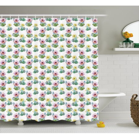 Cactus Shower Curtain Watercolor Foliage Pattern Botanical Elements Floral Spring Season Blossoming Nature Fabric