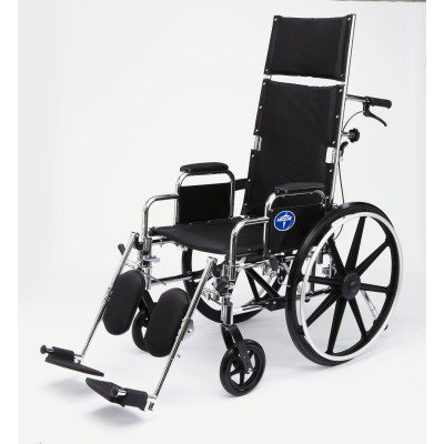 "Medline Excel Reclining Wheelchair, 22"" Wide Seat, Desk-Length Removable Arms, Elevating Leg Rests"