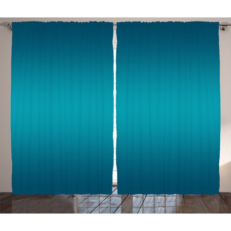 Ombre Curtains 2 Panels Set, Deep Blue Tropical Ocean Inspired Design Modern for Room Decorations Digital Print, Window Drapes for Living Room Bedroom, 108W X 84L Inches, Indigo, by Ambesonne (Ombre Blue)